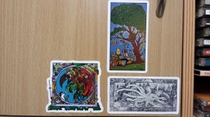 Ella vs the Daemon, Hydra and the City and Picnic under Tree stickers by MuscularTeeth