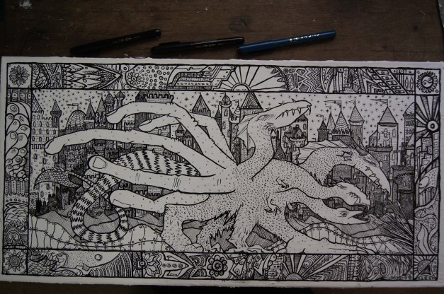 HYDRA & THE CITY by MUSCULARTEETH. Canvas and waterbased ink brush-pen